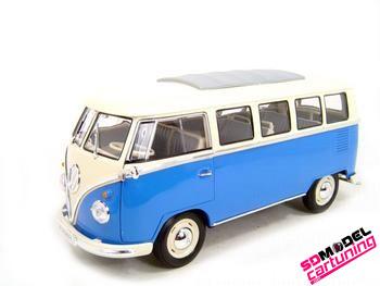 1:18 Volkswagen T1 Wit/blauw