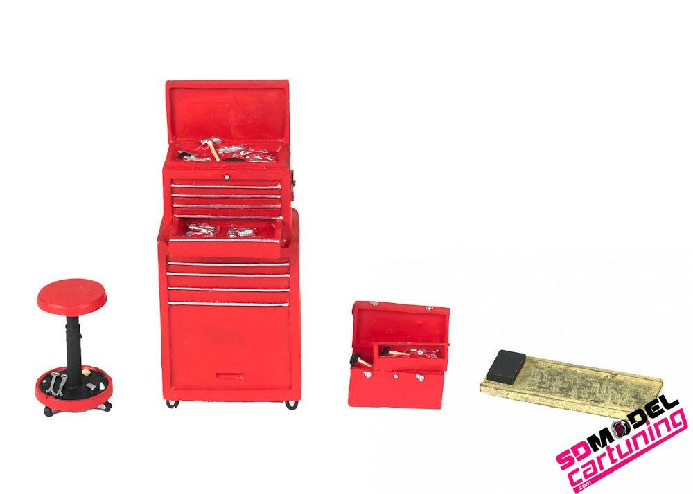 1:18 Garage toolset motorhead rood