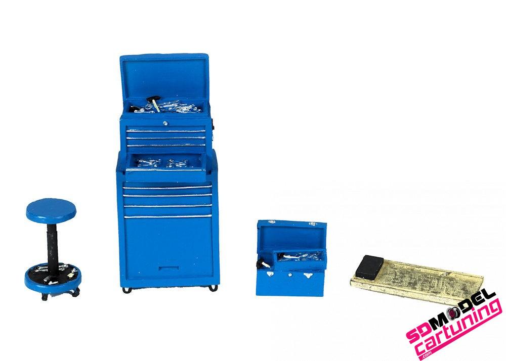 1:18 Garage toolset motorhead blauw